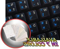 THAI KEYBOARD STICKER WITH BLUE LETTERING TRANSPARENT BACKGR