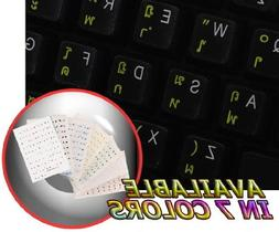 THAI KEYBOARD STICKERS WITH YELLOW LETTERING ON TRANSPARENT