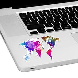 "Tie Dye World Map Laptop Trackpad Sticker 2.5"" tall x 4"" wid"