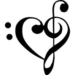 "1 X TREBLE BASS CLEF HEART Love of music 3.5"" BLACK Vinyl De"
