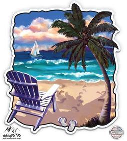 "Tropical Beach Vacation - 3"" Vinyl Sticker - For Car Laptop"