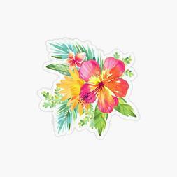 Tropical Flowers Laptop Sticker Bottle Macbook Decal Style 2