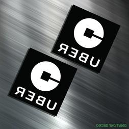 TWO UBER Vinyl Decal Sticker For Car Laptop Skateboard Taxi