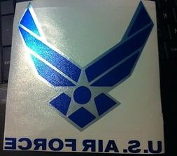 US Air Force Logo CHROME Silver Blue Laptop Car Window Decal