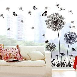 Ussore Wall Sticker Dandelion Butterfly Stickers Removable M