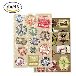 T&B Vintage Stickers 2PCS Multi Countries Retro Landmark Mon