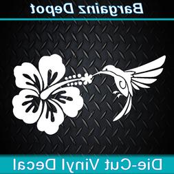 Vinyl Decal * HUMMINGBIRD HIBISCUS * Flower Bird Car Laptop