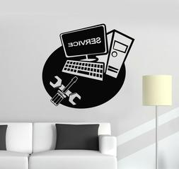 Vinyl Wall Decal Computer Laptop Service Repair Technology S