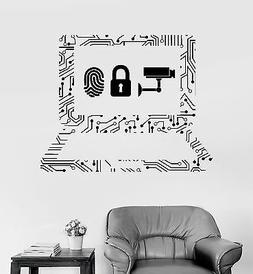 Vinyl Wall Decal Cyber Security Laptop Internet IT Stickers