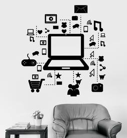 Vinyl Wall Decal Laptop Computer Online Social Networks Stic