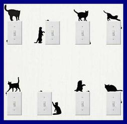 Wall Sticker, 8 pcs Cute Cat Design Light Switch Decor Decal
