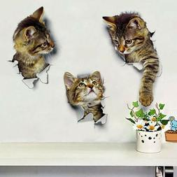 Wall Stickers Vinyl Cute 3D Kitten Cat Bedroom Fridge Decal