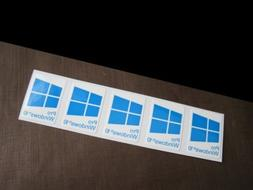 5 PCS Windows 10 Pro Blue Sticker Badge Logo Decal Cyan Colo