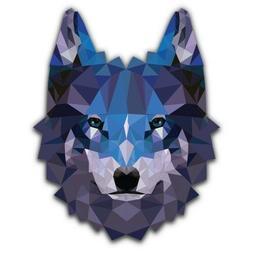 Wolf Geometric Blue Car Laptop Phone Vinyl Sticker  - SELECT