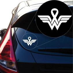 Wonder Woman Breast Cancer Decal Sticker for Car Window, Lap