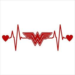 Wonder Woman Heartbeat Decal Vinyl Sticker|Cars Trucks Vans