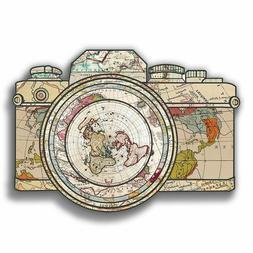 World map Travel Camera  vinyl sticker for laptop luggage tu