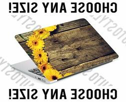 Yellow Flowers Rustic Wood Laptop Skin Decal Sticker Tablet