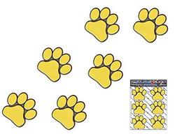 YELLOW PAW PRINTS Small ANIMAL Pet Cat Dog Pack Car Stickers