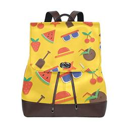 Yellow Watermelon Real Leather Shoulder Backpack Daypack Sch